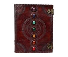 GENUINE HANDMADE LEATHER JOURNAL SEVEN MEDIEVAL STONE WITH C-CLASP LOCK DAIRY
