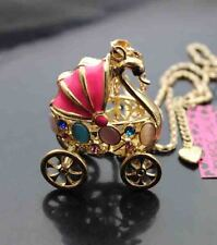 D649    Betsey Johnson Crystal Enamel Swan opal baby carriage Pendant Necklace
