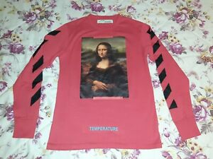 Mens OFF WHITE Long sleeve tee T-shirt DIAG MONALISA Size M Red Black NEW BNWOT