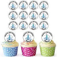 Disney Frozen Elsa 24 Personalised Pre-Cut Edible Cupcake Toppers Girls Party