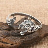 Real 925 Sterling Silver Cuff Bracelet Dragon Men's Jewelry