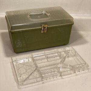 Vintage Wilson WIL-HOLD Green Avocado Plastic Sewing Box Organizer Holder Case