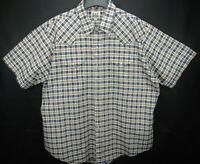 Ely Cattleman Men's Size 2XL Short Sleeve Pearl Snap Western Shirt Plaid