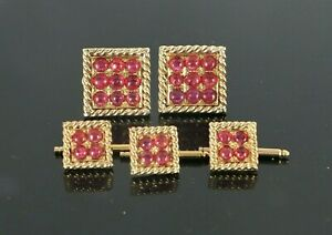 14K Yellow Gold GIA Cabochon Natural No Heat Red Ruby Rope Cufflinks Shirt Studs
