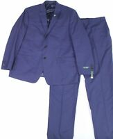 Lauren By Ralph Lauren Mens Suit Set Blue Size 40 Two Button Wool $600 #006