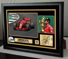 "Sebastian Vettel F1 Ferrari 2018 British Grand Prix Toile Estampe signée ""cadeau"""