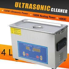 New Stainless Steel 4l Liter Industry Heated Ultrasonic Cleaner Heater Withtimer