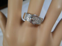 Sparkling Diamond Pave' Buckle Ring Sterling Silver Sz 6