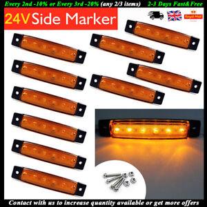10 X 24V 6 LED Amber Side Marker Indicators Lights Lamp Vans Trailer Bus Truck