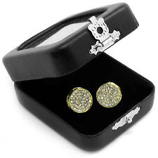 Men's Gold Hip Hop Iced Out Paved Cz  3D Round Screw Back Stud Earrings L E54
