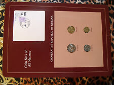 Coin Sets of All Nations Guyana w/ card 1985 - 1986 UNC purple stamp 5 cent 1986