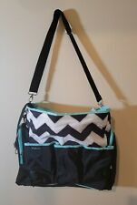 Mint Blue Green White Black Zig Zag Messenger Clean Diaper Bag 12 Pockets+