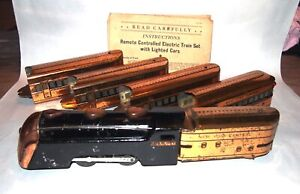 Marx Prewar Streamlined Articulated & Lighted Copper Mercury Passenger Set! PA