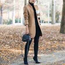 Ladies Women Winter Office Pea Coat Trench Jacket Long Blazer Coat Outwear 6-16