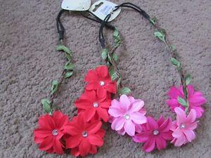 Flower hair bandeaux fabric hairband floral plait elastic diamante headband band