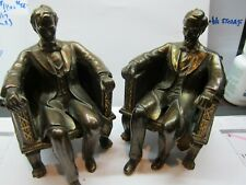 PAIR OF BOOK ENDS President Abraham Lincoln Seated Statue Bronze Finish Bookends