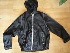Men's Summer Sport Running Gym Jacket Polyester Size S Black Hoodie Light Thin