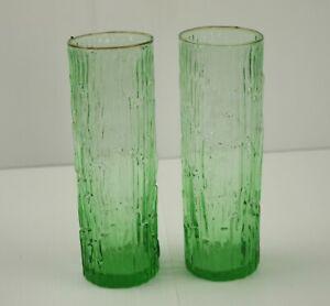 2 Midcentury Retro Art Glass Bark Glass Two Tone Green Stem Vase