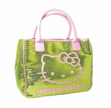HELLO KITTY GREEN BAG TOTE SEQUIN CHIC 30CM GIRLS STYLISH HANDBAG TRAVEL LUGGAGE