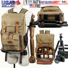 LHQ-Camera Bag Men//Women Durable Backpack Daypack Waterproof Vintage Zipper Canvas Hiking Student Outdoor Shopping Camera Bag Color : Khaki