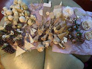 Huge Lot Of Christmas Handmade Homemade Christmas Tree Ornaments Birds Crystals