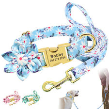 Flower Personalised Pet Dog Name ID Collars and Lead set Custom Metal Buckle S-L