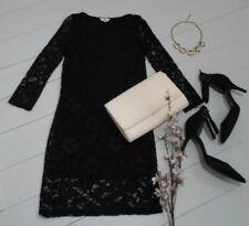 New Look Black Stretch Lace 3/4 Sleeve Bodycon Dress UK10