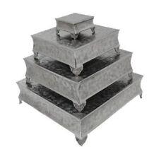 "GiftBay 751-6/22S (S/4) Wedding Cake Stand Square 22"", 18"", 14"" & 6"", Silver"
