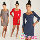 Divine Women's Mini Dress Square Neck Tunic Long Sleeve Sizes 8 -18 2914