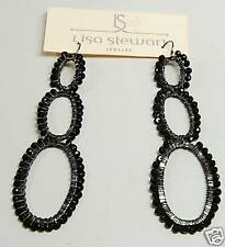 NEW LISA STEWART Onyx Wire Wrapped 3 Hoop Earrings $210