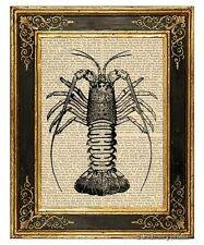 Crawfish Art Print on Vintage Book Page Home Kitchen Hanging Decor Gifts