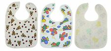 3 New  Large Velcro Bibs. 100% Combed Cotton Teddy,Plane,Duck Plastic Backed