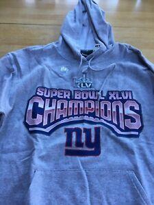 New York Giants Reebok Super Bowl XLVI Champions Hoodie Sweatshirt L Large NWT