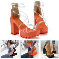 Women's Chunky Heels Zippered Waterproof Platform High heels Shoes Sandals