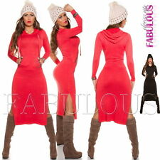 New Sexy Women's Sweater Dress Knitted Long Top Jumper Pullover Size 6 8 XS S