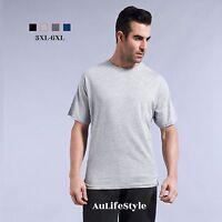 Mens Crew Neck Plain Tee T-Shirt Top 100% Cotton Plus Size 3XL 4XL 5XL 6XL