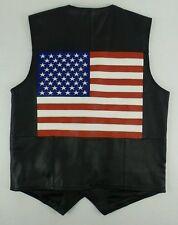 NEW USA 100% Leather American Flag Motorcycle Biker Vest Size Mens Medium M