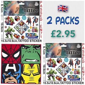 2x BOYS MARVEL AVENGERS Temporary Tattoo Packs UK Party bag fillers Transfers 🎉