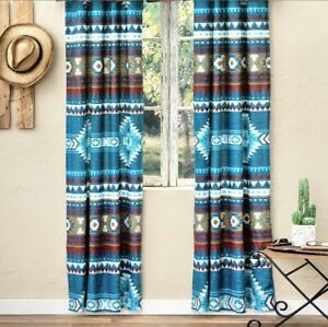"""NEW! Pair of Blue Mesa Southwest Lined Rod Drapes Curtains w Tiebacks 42"""" x 84 """""""