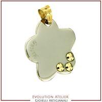 Ciondolo Fiore in acciaio con gancetto e applicazioni in oro 18 Kt