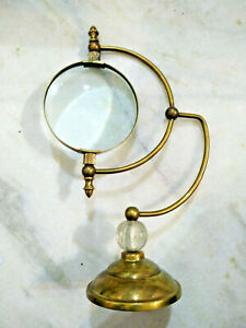 Antique Brass Magnifying Glass With Base Desktop Collectible Office Decor Item