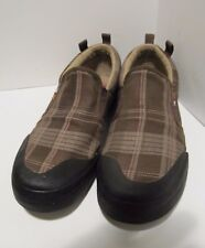 The North Face Mens Slip On Athletic  Shoes Brn Plaid Canvas SZ 10  Rare