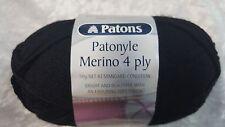 Patons Patonyle Merino 4 Ply #1001 Black Sock Yarn 50g