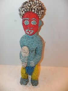 "Arts of Africa - Bamileke Beaded Royal Standing Figure 20"" Height x 6"" Wide"