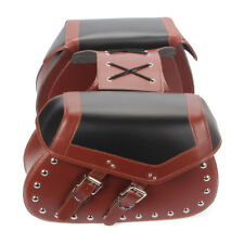 Studded Faux Leather Motorcycle Saddle Bags Motorbike Panniers Luggage Bag Red