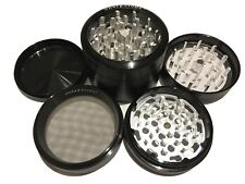 "SharpStone® 2.5"" Inch 4pc Clear Top Herb Tobacco Large Black Grinder + Extras"