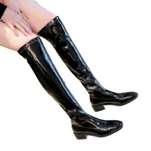 41/42 Women Patent Leather Block Heel Square Toe Pull On Over Knee High Boots L