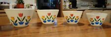 1950s Fire King Tulips on Ivory, Set of 4 Splash Proof Nesting/Mixing Bowls