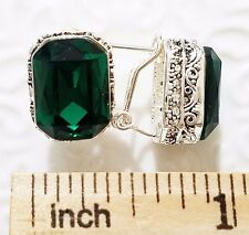 Vintage Emerald Green Earrings White Gold Plated Women Jewelry Carved E43