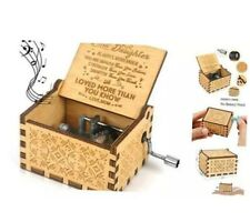 Kafete Music Box Hand Crank Engraved Musical Box-U R My Sunshine Mechanism Antiq